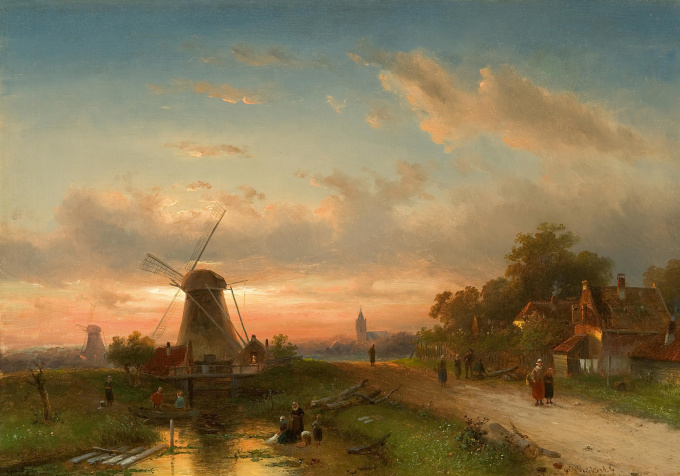 A Dutch River view by Charles Leickert