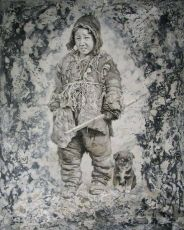 Young Tibetan Boy with his dog by Sheng Shaopeng