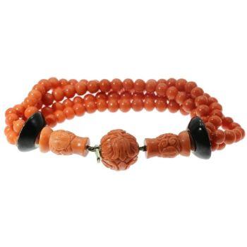 Art Deco enameled coral beaded bracelet, 4 strands by Unknown Artist