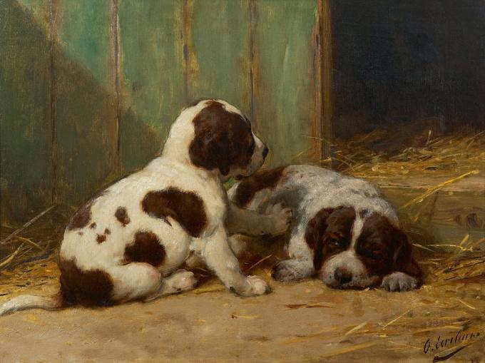 Two St Bernard puppies by Otto Eerelman