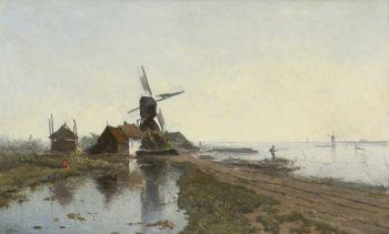 The mill path near Kortenhoef, with windmill De Lelie by Paul Gabriel