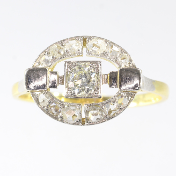 Art Deco diamond ring in two tone gold by Unknown
