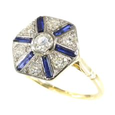 Vintage Art Deco ring with sapphires and diamonds by Unknown