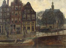 Brouwersgracht in Amsterdam (near Noordermarkt) by Dirk Johannes van Haaren