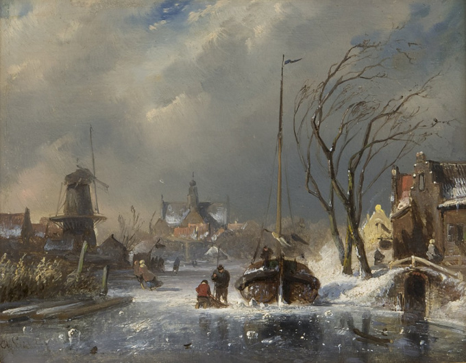 A town in winter with figures on a frozen river by Charles Leickert