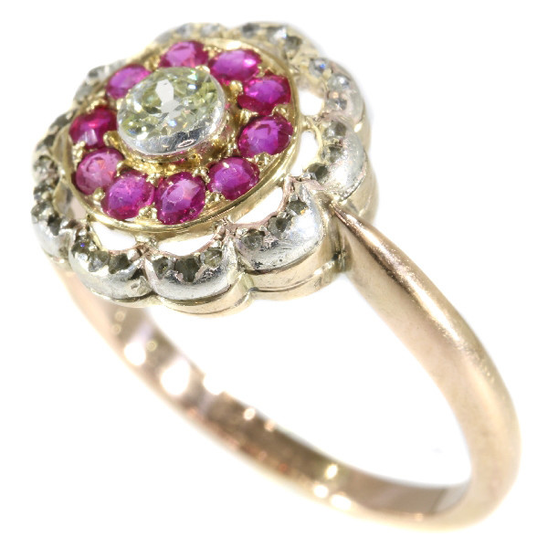 Late Victorian diamond and ruby ring by Unknown