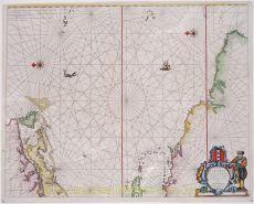 Americas, Caribbean sea chart  by  Theunis Jacobsz Lootsman