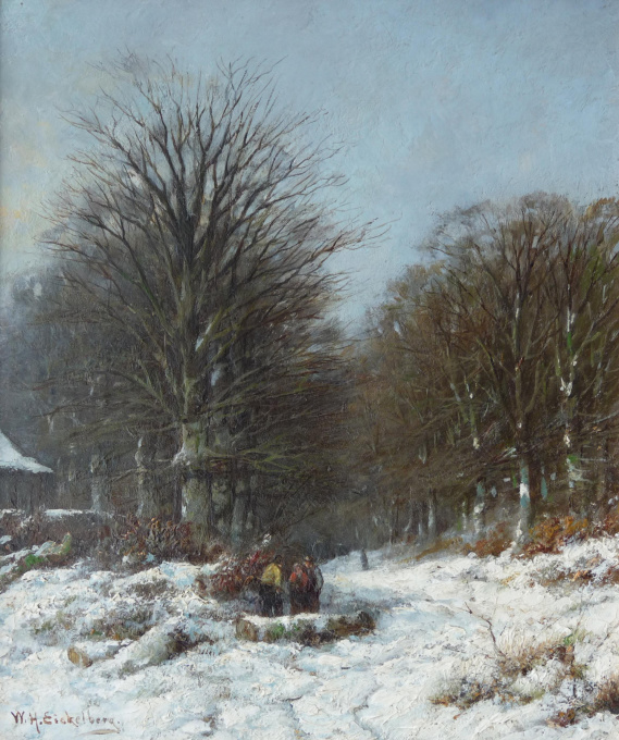 Figures on a snowy forest trail by Willem Henrik Eickelberg