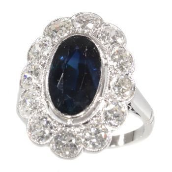 Vintage 1950's platinum diamond and sapphire engagement ring - lady Di style by Unknown Artist