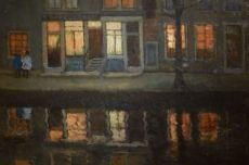 "Amsterdam Canal with Wall Inscription ""Kahrels Thee"" (Carl's Tea) by George Hendrik Breitner"