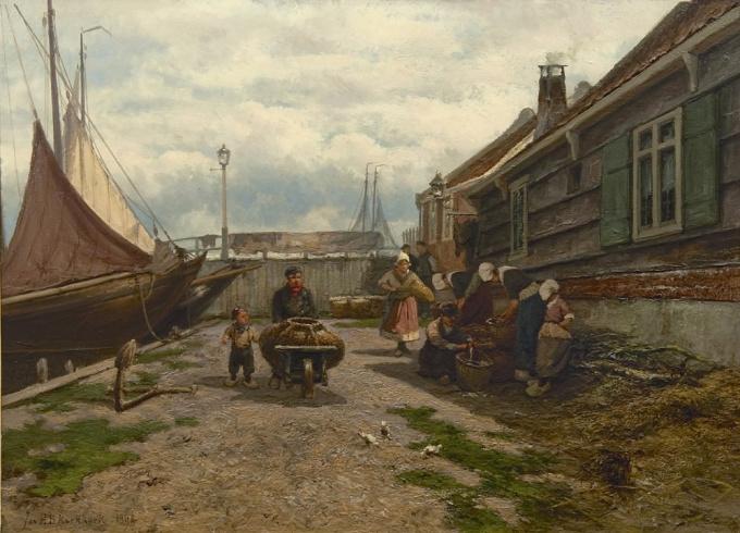 Fish sellers in a Zuiderzee harbour by Jan H.B. Koekkoek