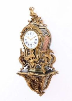 A small French Louis XV Boulle inlaid quarter repeating bracket clock, Melot A Paris, circa 1750. by Melot A Paris
