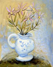 Blue pitcher with flowers