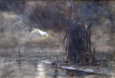 Mill at night by Jacob Maris