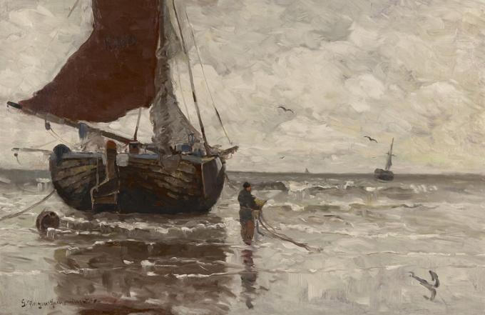 Moored fishing barge near the beach by Gerhard Arij Ludwig 'Morgenstjerne' Munthe