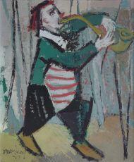 Clown met saxofoon by Jan van Heel
