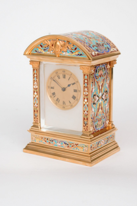 An attractive French gilt brass cloisonne enamel travel clock by W.M. & Co.