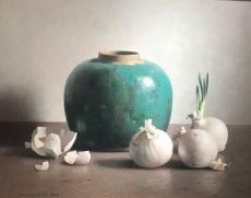 Stil life with green ginger pot by Henk P.N. Helmantel