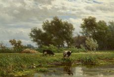 Cows along the water by Jan Willem van Borselen