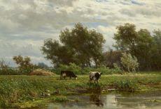 Cows along the water by Jan Willem van Borselen