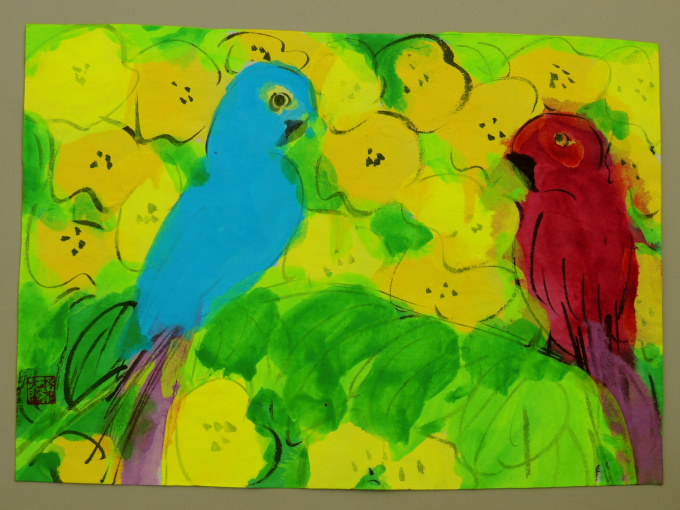 Two parrots by Walasse Ting