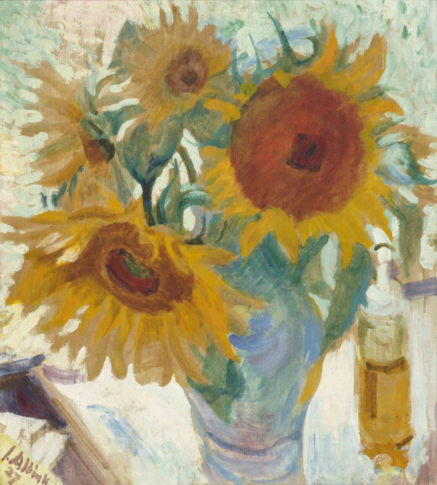 Sunflowers in a vase by Jan Altink