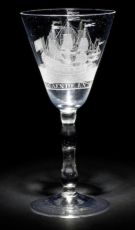 A Dutch-engraved light baluster wine glass by Unknown Artist
