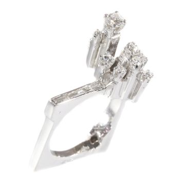 Strong design artist jewelry French platinum ring with diamonds from the sixties by Unknown Artist
