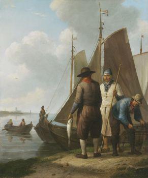 Fishermen with their catch by Johannes Hermanus Koekkoek