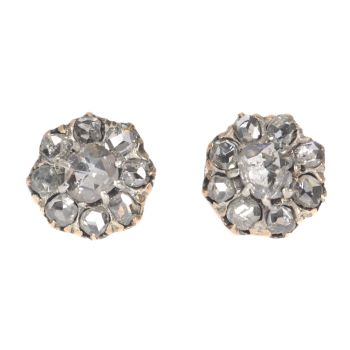 Antique Victorian earstuds with rose cut diamonds 18K gold by Unknown Artist