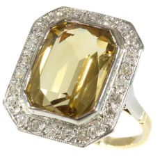 Vintage warm yellow citrine and diamond ring from the fifties. by Unknown