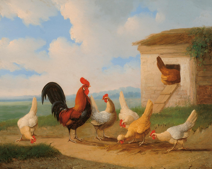 A rooster with chickens near a run by Albertus Verhoesen