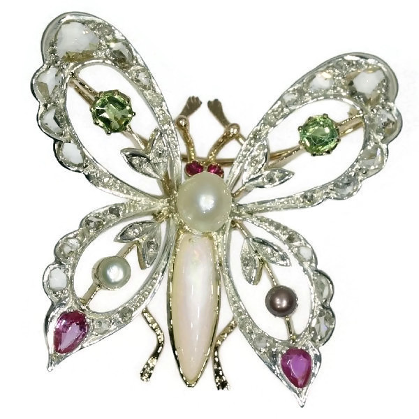 Vintage bejeweled butterfly brooch by Unknown