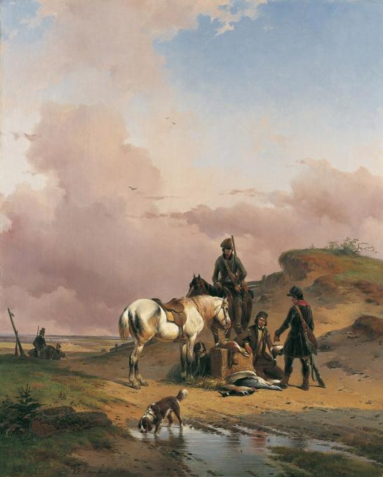 After the hunt by Joseph Jodocus Moerenhout