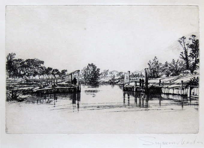 Egham lock by Francis Seymour Haden