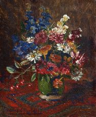 Flowers in a vase by Willem Elisa Roelofs