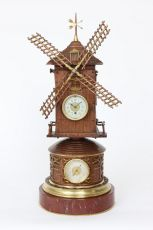 A French animated industrial mantel clock, windmill by Guilmet, circa 1880 by Guilmet