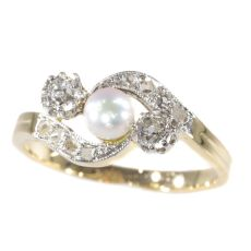 Late Victorian diamond and pearl cross over ring by Unknown