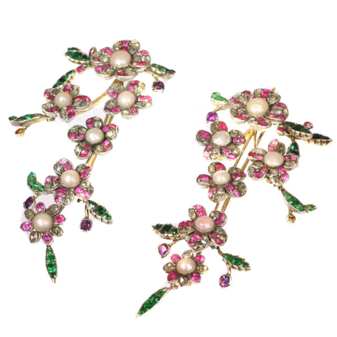 Extravagant long pendent earrings from antique parts diamonds, pearls, rubies by Unknown