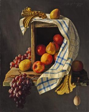 Fruit, box and towel by Lodewijk Bruckman