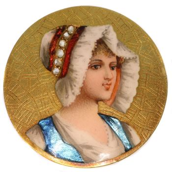 Antique Victorian brooch with enameled portrait of young French peasant girl by Unknown Artist