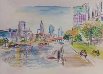 Melbourne Waterfront Cityscape by Iam Anna