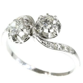 Vintage love ring so called toi et moi or cross over ring with diamonds by Unknown Artist