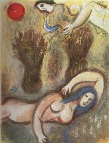 Booz se reveille et voit Ruth a ses Pieds by Marc Chagall