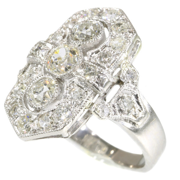 Estate diamond platinum Art Deco engagement ring by Unknown Artist
