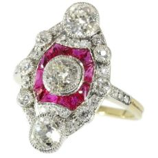Stunning Belle Epoque Art Deco diamond and ruby engagement ring by Unknown Artist
