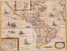 America rare map  by  Hondius/Janssonius