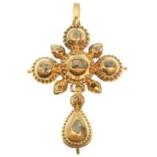 Antique gold cross pendant set with rose cut diamonds by Unknown Artist