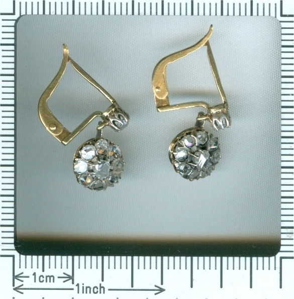 Vintage antique late Victorian rose cut diamond earrings by Unknown