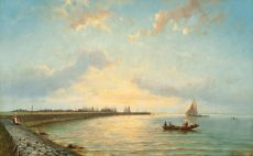 Boats on the 'Zuiderzee' at dusk by Johannes Hermanus Koekkoek